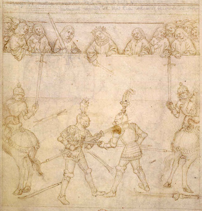 From the Beauchamp Pageant, showing Richard de Beauchamp, Earl of Warwick, fighting against Pandolfo Malatesta in Verona, 1408. The presiding judge (in center) is Galeazzo da Mantova, student of Fiore dei Liberi!