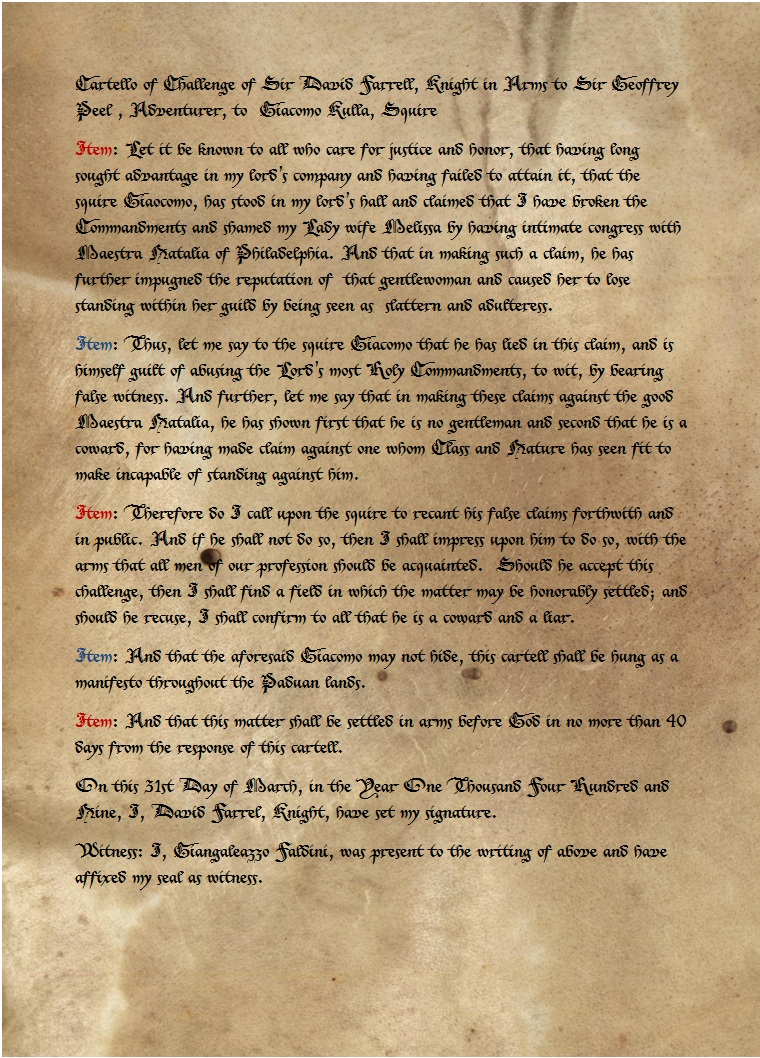Cartello of Challege of Sir David Farrell to Giacomo Culla.